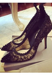 Sequins Black Lace Stiletto Heels For Women