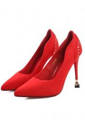 Studded Red Velvet Sky High Heels For Women