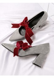Lace Up Grey Velvet Chunky Heels