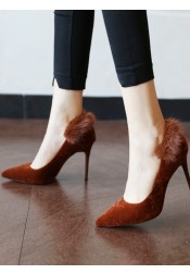 Brown Velvet Stiletto Heels For Women