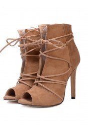 Khaki Peep Toe Lace-up High Heels Sandals