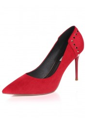 Red Pointy Toe Stiletto Heels Pumps with Rivet