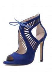 Blue Peep Toe Lace-up Stiletto Heel
