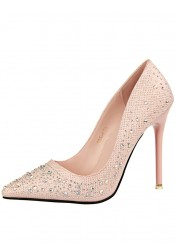 Beaded Pink Pointy Toe Stiletto Heel Pumps