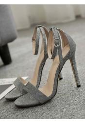 Ankle Strap Open Toe Stiletto Grey High Heels Sandals