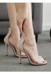 PVC Clear Ankle Strap Stiletto Beige High Heels for Women