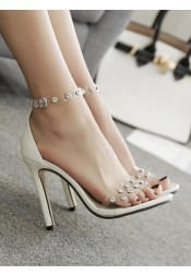 PVC Clear Ankle Strap Stiletto High Heels with Beading