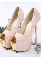 Peep Toe Pink Platform Sky High Heels for Women
