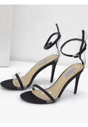 Ankle Strap Open Toe Black Stiletto High Heels Sandals