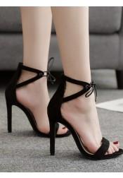 Open Toe Black Stiletto High Heels Sandals for Women