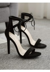 Open Toe Black Stiletto High Heels Sandals for Women