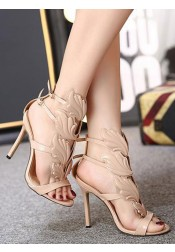 Open Toe Stiletto Beige High Heels Sandals with Buckle