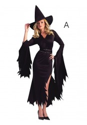 Halloween Witch Costume Asymmetry Sheath Sideslit with Witch Hat Sash