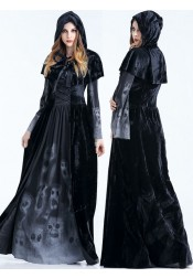 Horror Zombie Leader Halloween Costume Black Ripper Gown