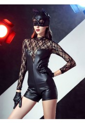 Sexy Halloween Costumes for Girls Cat-woman Cosplay Costumes with Lace Gloves