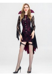 Adult Halloween Costumes for Women Purple Vampire Costumes with Lace