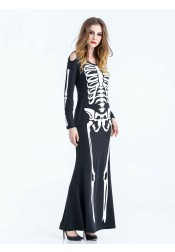 Funny Halloween Costumes Female Easy Skull Black Long Halloween Dress