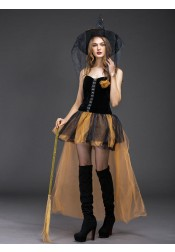 Simple Halloween Witch Costumes High Low Tulle Halloween Costumes with Witch Hat