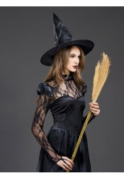 Sexy Halloween Witch Costumes Long Sleeves Satin Costumes Dress with Hat Lace