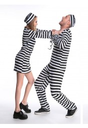 Adult Halloween Couple Costume Prisoner Costume Jail Man/women Convict Dress