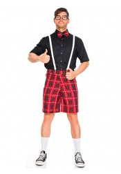 Cute Adult Halloween Costumes Red Plaid School Nerds Couple Costume