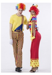 Funny Circus Clown Adult Couple Halloween Costume 80s Retro Hippies Style Wide Leg Pants