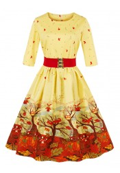 A-Line Crew Neck Half Sleeves Yellow Vintage Dress