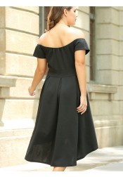 High Low Off the Shoulder Plus Size Black Dress