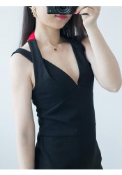 V-Neck Tea-Length Backless Black Club Dress