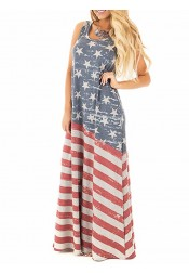 American Flag Print Patriotic Maxi Dress