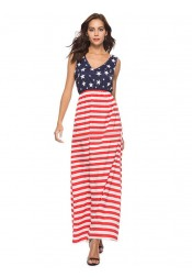 Star Striped July of 4th Patriotic Printed Maxi Dress