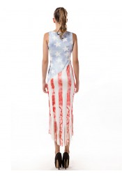 Fringes American Flag Patriotic Plus Size Printed Dress