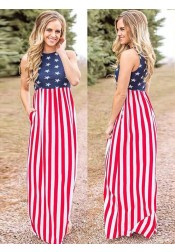 Pockets Star Striped July of 4th Maxi Dress