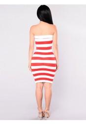 Strapless Star Striped Print Patriotic Bodycon Dress