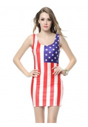American Flag Round Neck Patriotic Bodycon Dress