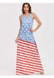 Star Striped Print July of 4th Long Boho Dress