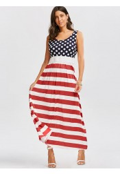 Polka Dots Striped Patriotic Maxi Printed Dress