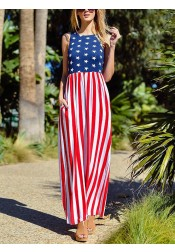 Pockets American Flag 4th of July Maxi Printed Dress