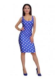 Star Striped Backless Patriotic Short Bodycon Dress
