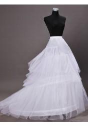 White Chapel Train Wedding Dress Cirnoline/Petticoats