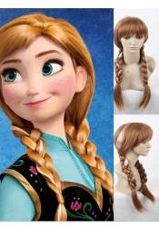 Amazing Disney Frozen Anna Cosplay Wigs Double braid Halloween Party
