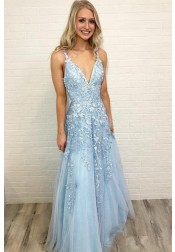 Sweet A-line V-neck Straps Floor Length Light Blue Tulle Prom Party Dress with Appliques