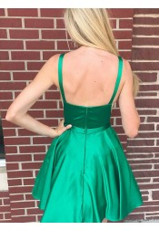 A-line Bateau Backless Knee Length Green Homecoming Dress with Pockets