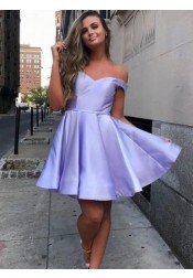 A-line Off Shoulder Lilac Short Satin Homecoming Dress