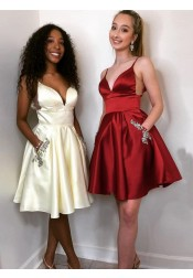 A-line Spaghetti Straps Short Burgundy Satin Homecoming Dress with Beaded Pockets