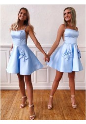A-line Square Neck Blue Cut Out Homecoming Dress with Bowknot Pocket