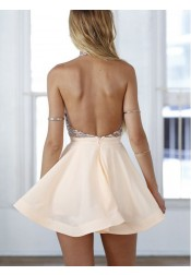 A-Line Halter Short Pink Chiffon Homecoming/Cocktail Dress with Sequins