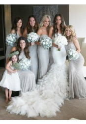 Glitter Mermaid Sweetheart Floor-Length Light Grey Tulle Bridesmaid Dress