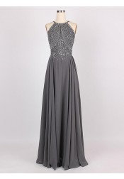 A-Line Halter Sleeveless Floor-Length Backless Grey Chiffon Prom Dress with Beading