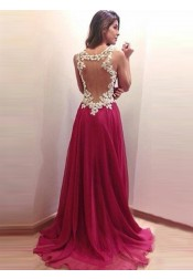A-Line Straps Sweep Train Illusion Back Tulle Prom Dress with Appliques
